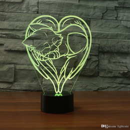 fox night light Australia - Love Heart Fox 3D Illusion Night Light,Touch 7 Color Change,Home Decor Baby Girl Boy LED Lamp Chlid Kids Gift Christmas Xmas Gift