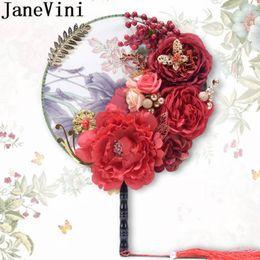 $enCountryForm.capitalKeyWord Australia - JaneVini Artificial Peony Bridal Fans Bouquets Red Silk Flowers Tassel Women Wedding Catwalk Pageant Bride Fan Bouquet De Rose 2019