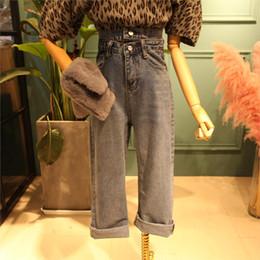 f42c9e4a2e1 Plus size Wide leg jeans Women casual Bell Bottom Jeans High waist Full  length trousers Boyfriend Baggy Flare Denim Pants