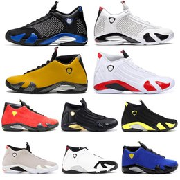 Wholesale 14s mens basketball shoes XIV Candy Cane Reverse Black Toe Indiglo Fusion Varsity Red Suede Last Shot Leather DMP Sports Trainers