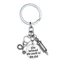 $enCountryForm.capitalKeyWord NZ - 12PC Wholesale She believed She Could So Did Stethoscope Syringe Keyring Doctor Nurse Physicians Medical Keychain Jewelry