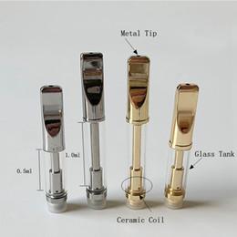 Discount vape ceramic wick - Empty Vape Pen Cartridge Gold Glass Tank Oil Dab Wax Vaporizer 1ml Ceramic Coil Wick Coil Vape Carts 510 Thread Battery