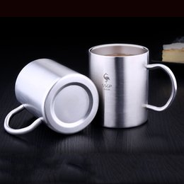 Tumbler Handle NZ - 10oz 14oz Stainless Steel Children Tumblers Double Layer Insulation Anti-scalding Mug With Handle Non-slip Tumbler Anti-fall Cup DBC VT1650