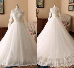 $enCountryForm.capitalKeyWord Australia - 2019 Bling Pearls Beaded Ball Gowns Wedding Dresses Lace With Sleeve High Neck Applique Muslim Wedding Dress Bridal Gowns Real Image