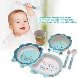 Dinnerware Plates Bowls Australia - 5Pcs set Eco-friendly Bamboo Fiber Baby Plate Dishes Bowl Cup Sets Lion Children Tableware Dishes Dinnerware Creative Gift baby