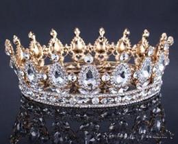 Tiara queen online shopping - Vintage Gold Headpieces Wedding Crown Alloy Bridal Tiara Baroque Queen King Crown gold color rhinestone tiara and crown Cheap