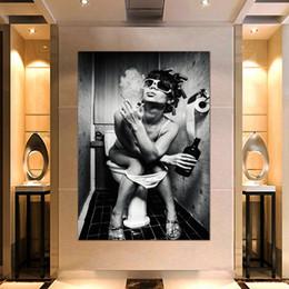 $enCountryForm.capitalKeyWord Australia - Canvas Print Pictures Wall Art Framework 1 Piece Black and white smoking women poster Painting Modular Home Decor Living Room