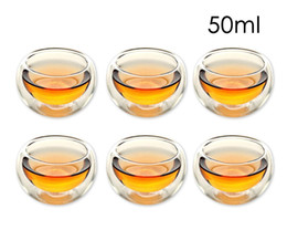 $enCountryForm.capitalKeyWord Australia - Set of 6 Durable 50ml Heat Resistant Double Wall Layer Tea Cup Healthy Elegant Clear Water Drinking Cup Flower Tea Cups Glassware