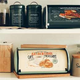 $enCountryForm.capitalKeyWord Australia - French Vintage Box Storage Bin Rollup Top Light Gray Small Powder Coated Bread Iron Snack Boxes For Kitchen Home Decor J190713