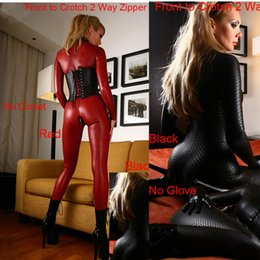 red leather jumpsuits Australia - Women Black Red Hot Faux Leather Latex Catsuit Clubwear Sexy Jumpsuit With Zipper to Crotch Sex Fetish Bondage Harness Costumes