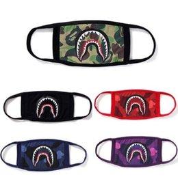 Colored Face Masks Australia - Unisex Bathing Ape Shark Face Mask Camouflage Mouth-muffle Black Face Masks Cycling Mask Purple Red Blue Sharks Scary Masks Adult Kid B61901
