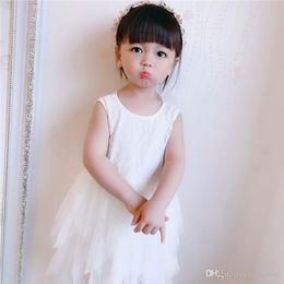 $enCountryForm.capitalKeyWord Australia - New INS Little Girls Princess Dresses White Blank Round Collar Blackless Lace Designs Ruffles Gauzy Dresses Summer Children Girls Clothing