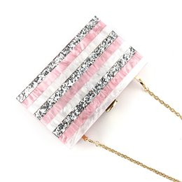 brides clutch bags NZ - European Acrylic Striped Evening Bag Women Pink Geometric Sequined Patchwork Phone Purse Day Clutches Wedding Bride Chain Bags