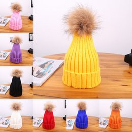 soccer beanie NZ - Free DHL Adult Winter Hats For Kids Knitted Beanie Cap Baby Children Fur Pom Pom Hat Adults Lovely Hairball Kids Cap Beanie M130Y