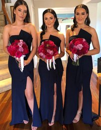 cheap strapless trumpet wedding dresses UK - New Dark Navy Mermaid Bridesmaid Dresses Strapless Draped Side Split Garden Country Wedding Guest Gowns Women Evening Prom Dress Cheap