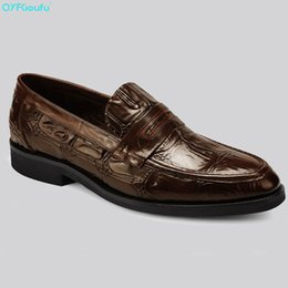 italian tops 2019 - QYFCIOUFU New Top Italian Mens Luxury Dress Shoes Oxfords Genuine Leather Shoes High Quality Cow Leather Slip On Formal