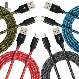 Colorful Usb Charger Cable 3m Australia - 1000pcs lot 1m 2m 3m Colorful Cloth yarn micro 5pin  USB Type C fabric nylon braided usb data sync charger cable for samsung typeC