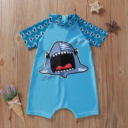 toddlers boys outfit NZ - Toddler Bathing Suit Kids Baby One Piece Boys Girls Jumpsuit Cartoon Summer Swimwear Swimsuit Outfit Beach Bathing Suit #3.9