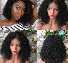 Hair Brazilian Wig Australia - 180% Short Curly Human Hair Bob Wig Full End Lace Front Human Hair Wigs For Black Women Brazilian Remy Pre Pluck Bleached Knots