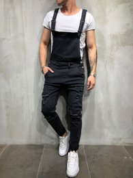 Wholesale high fashion mens overalls resale online – designer Overalls Vintage Mens Designer Jeans Washed Holes Pockets Button Street Style Pencil Pants Casual Fashion Mens Jeans