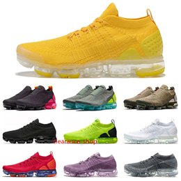 bright fly UK - 2020 fly 1 knit 2 cushions mens womens vapors running shoes Bright Yellow Moc 2 Black Racer Blue Red Orbit Designer Sneakers Trainers