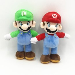 video game stand Australia - Super Mario Bros Stand Luigi Mario Plush Toys Soft Stuffed anime Dolls for Kids Gifts 10 inch 25 cm A163