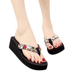 $enCountryForm.capitalKeyWord Australia - B925 Flowers Printing Pinch Flip Flops For Women Ladies Fashion Summer Bohemian Style Clip Toe Slippers Beach Sandals Wedges Shoes
