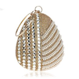 shoulder clutch bags NZ - Designer-Pearl Imitation Women Evening Clutch Bag One Side Rhinestones Beaded Handmade Style Chain Shoulder Party Evening Bag