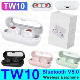 earbuds pair NZ - TW10 Wireless Bluetooth Earphones TW 10 Button Control Stereo Bluetooth V5.0 Earbuds Headphones Portable Sport Headset Auto Pairing Earpiece