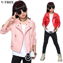 Leather jackets for kids girLs online shopping - V TREE Girls Jacket Fashion Autumn Imitation Leather Jackets For Teenage Girl Spring Children Outerwear Kids Coat Christmas Tops