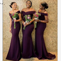 $enCountryForm.capitalKeyWord Australia - Sexy Off Shoulder Grape Bridesmaid Dresses Customize Purple Polyester Satin Long Mermaid Maid Of Honor Dress For Women