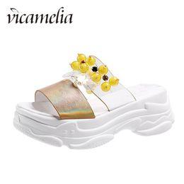 $enCountryForm.capitalKeyWord NZ - Vicamelia Women Platform Slippers Soft Flat Bottom Slides Thick Bottom Fashionable Outdoor String Bead Slipper Comfortable Open