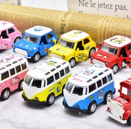 Toy Metal Bus NZ - Mini kitty cartoon pink alloy metal car model music and light pull back children's toy Retro bus   beetle   bus   retro bus 16 styles