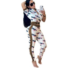 Chinese  Womens Letter Printed Two Piece Tracksuit F Letters Crop Tops Long Pants Outfits Bodycon Sweatsuit Set Short Sleeve Zipper Jacket Suit C434 manufacturers