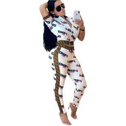 24432e5c54432 Womens Letter Printed Two Piece Tracksuit F Letters Crop Tops Long Pants  Outfits Bodycon Sweatsuit Set Short Sleeve Zipper Jacket Suit C434