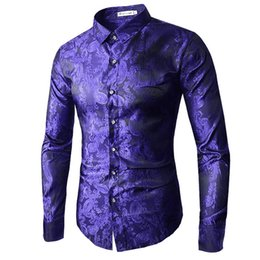 Figures Australia - Brand 2019 Fashion Male Shirt Long-sleeves Tops Embroidery Pattern Mens Dress Shirts Slim Men Figured Shirt Xxl