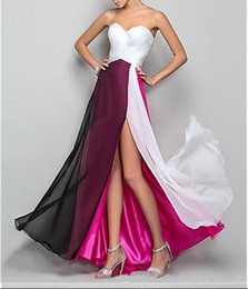 Sexy front deSignS dreSSeS online shopping - 2019 New Special Design Multi Color Split Front Sweetheart Neck Off Shoulder Long Sleeveless A line Chiffon Formal Evening Dresses