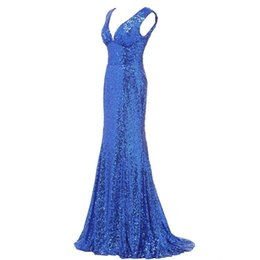 Sparkle Dress Up UK - 2019 New Golden Long Mermaid Prom Dresses Bling Sparkle Sequin Red Evening Party Gown Custom Made