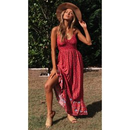 beach sexy cloth Australia - 20s Summer Women Printed Dresses Fashion Sexy V-Neck Dresses for Holiday Beach Dress Sleeveless High Quality Dress Cloth 3 Colors Size S-XL