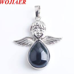 black angel wings girls Australia - WOJIAER Angel Wings Natural Black Agate Stones Pendants & Necklaces bead Women Girls Jewelry Christmas Gifts DN8089