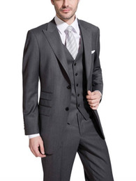 charcoal grey three piece suit Australia - Charcoal Grey Wedding Tuxedos Slim Fit Suits For Men Groomsmen Suit Three Pieces Cheap Prom Formal Suits (Jacket+Pants+Vest+Tie) 256