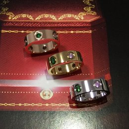 Ring Box Green Australia - Rose gold men and women couples color diamonds six diamonds ring tail ring wedding ring 3 color + box