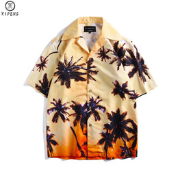 Mens Size Xxl Shirt Australia - Hawaiian Beach Shirts New Summer Mens Shirt Short Sleeve Palm Tree Print Pattern MALE Loose Vacation chemise homme Plus size XXL