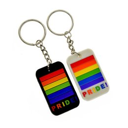 $enCountryForm.capitalKeyWord Australia - New Arrival Trendy Personality Gay Pride Rainbow Pendant Colorful Key Chain Gay and Lesbian Jewelry Parade Keychain Gifts