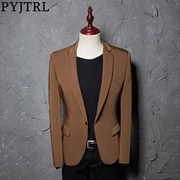single coat design for men Australia - PYJTRL Brand Fashion Casual Leisure Brown Suit Jacket Coat Men Blazer Slim Fit Designs Masculino Stage Costumes For Singers