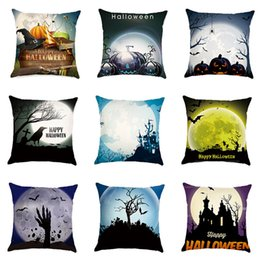 Wholesale Halloween Pillow Cover Pumpkin Print Happy Halloween Throw Pillow Cover Cushion Case Sofa Bed Decorative x45cm