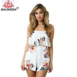b78cac6cbc8 BALIWEISA Summer White Floral Print Beach Playsuit Women Romper Sexy  Strapless Ruffles Elegant Jumpsuit Female Backless Overalls