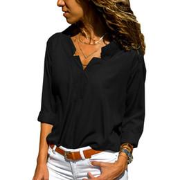 e073567f4d6589 Blouse Women Tops 2019 New Spring Summer Linen Shirt Women Long Sleeve V Neck  Blouses Woman Clothes Plus Size Blusas Chemisier