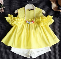3e6a8eef97d Summer Baby girls sets 2pcs off shoulder top suits Korean Cute  tshirt+shorts pants girls outfits baby tracksuit kids boutique Clothing