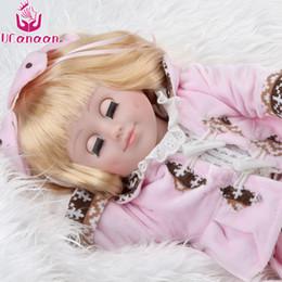 Eye Toy Play Australia - UCanaan Girls Doll Reborn 45CM Kids Toys Can Be Closed Eyes Cloth Body Baby Dolls For Children Play Birthday Gifts